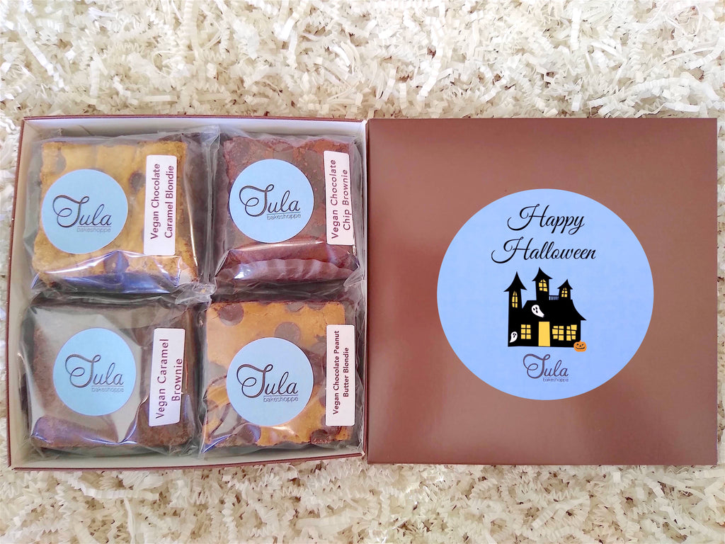 Vegan Happy Halloween Gourmet Cookie Bar Variety Sampler Baked Items Gift Box, Business / Corporate Gifts
