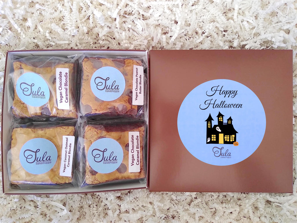 Vegan Halloween Blondie Lovers Gourmet Dessert Gifts Care Package, Individually Wrapped