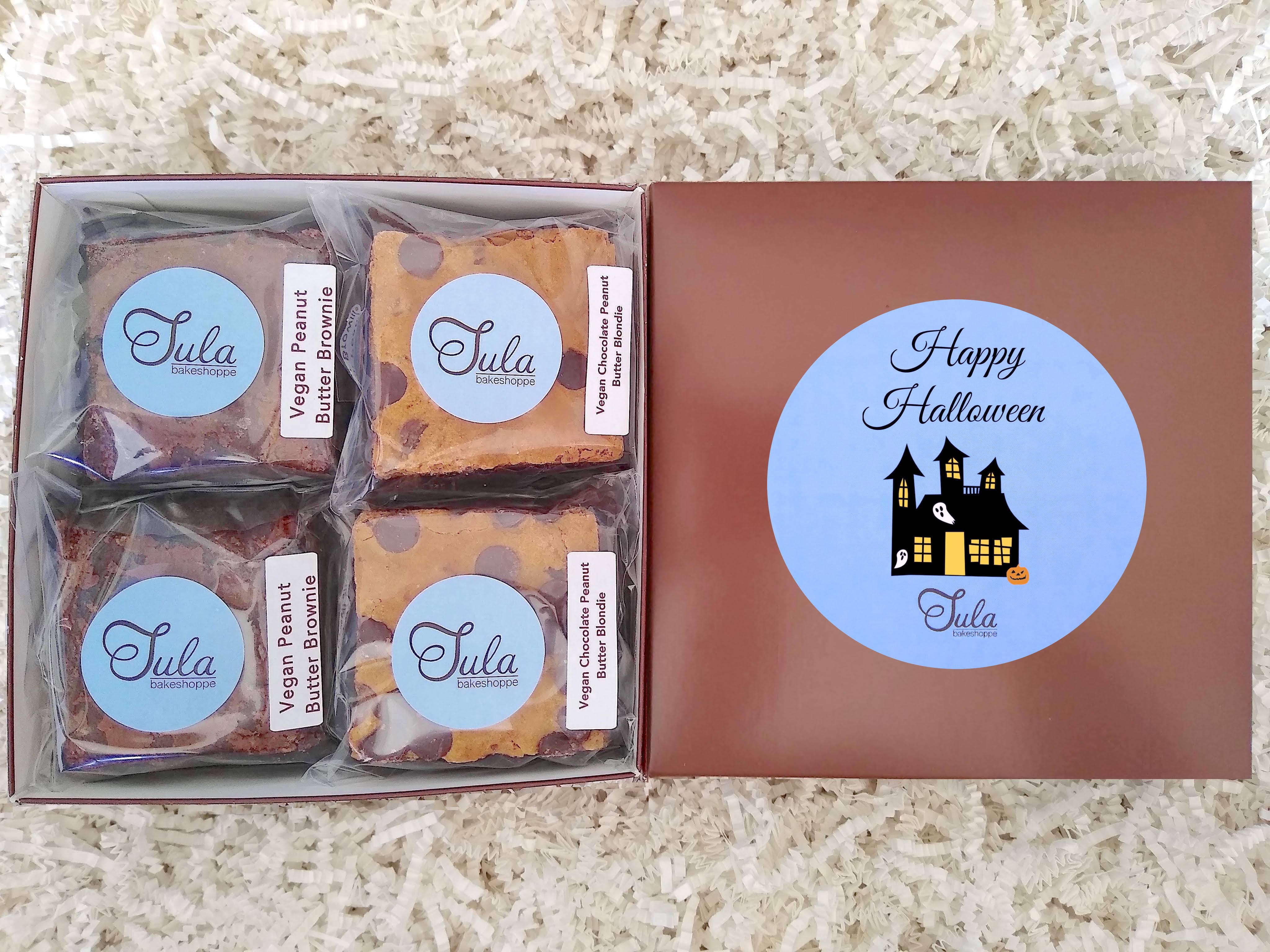Vegan Halloween Peanut Butter Bar Lovers Baked Goods Food Gift Box, Non Dairy