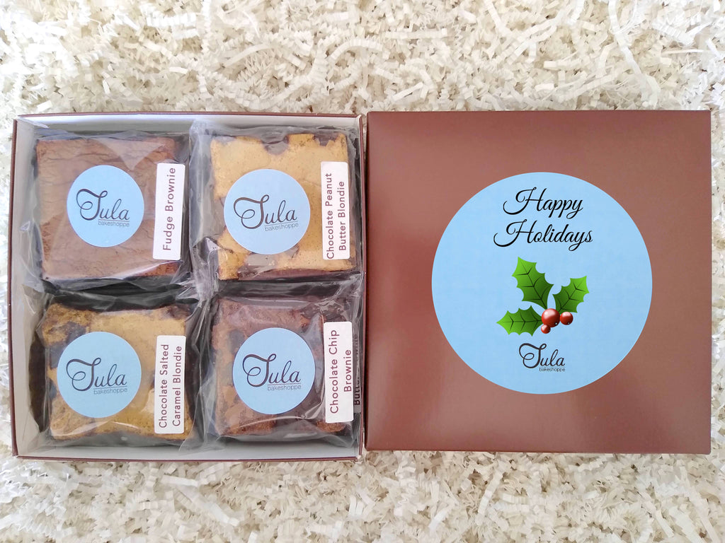 Happy Holiday Gourmet Cookie Bar Assorted Baked Items Gift Box