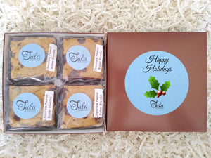 Holiday Party Chocolate Peanut Butter Blondie Gourmet Pastry Favors Gift Box