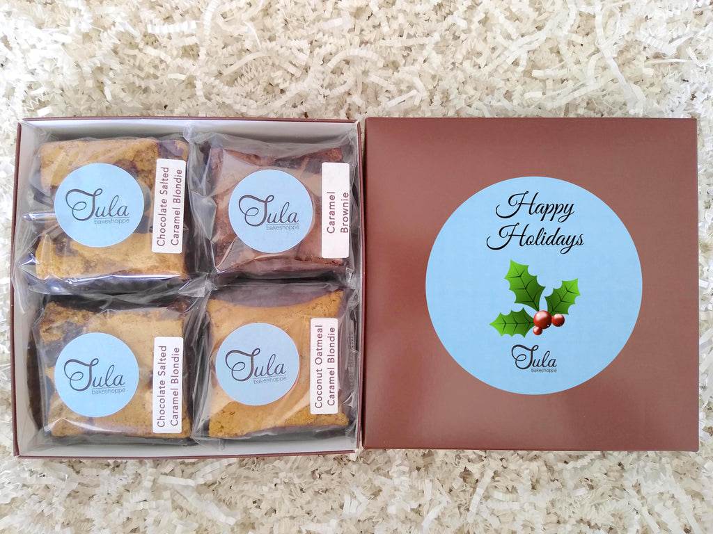 Holiday Caramel Lover Bars Gourmet Favor Food Gift Box