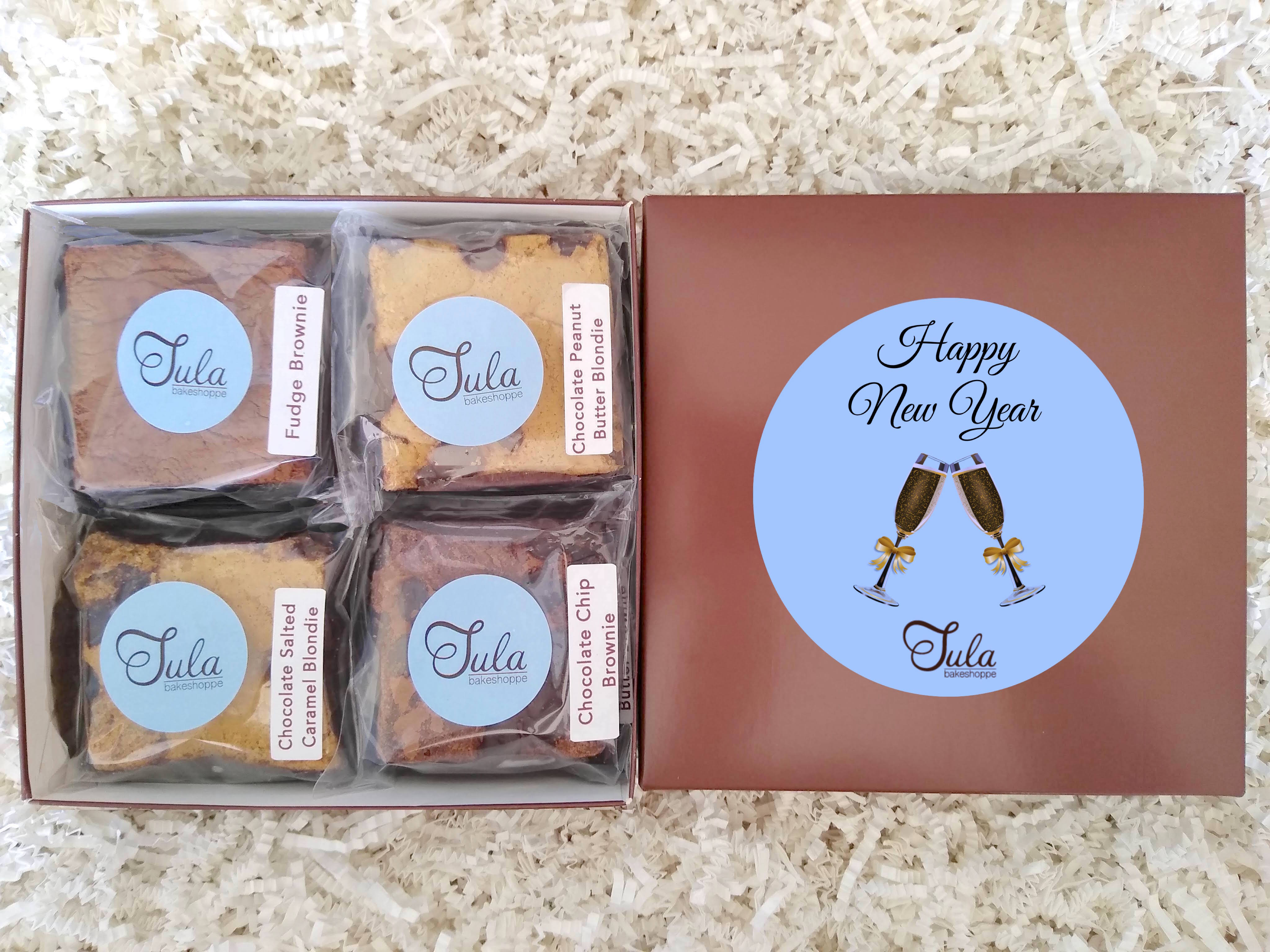 New Year Gourmet Cookie Bar Sampler Baked Items Gift Box