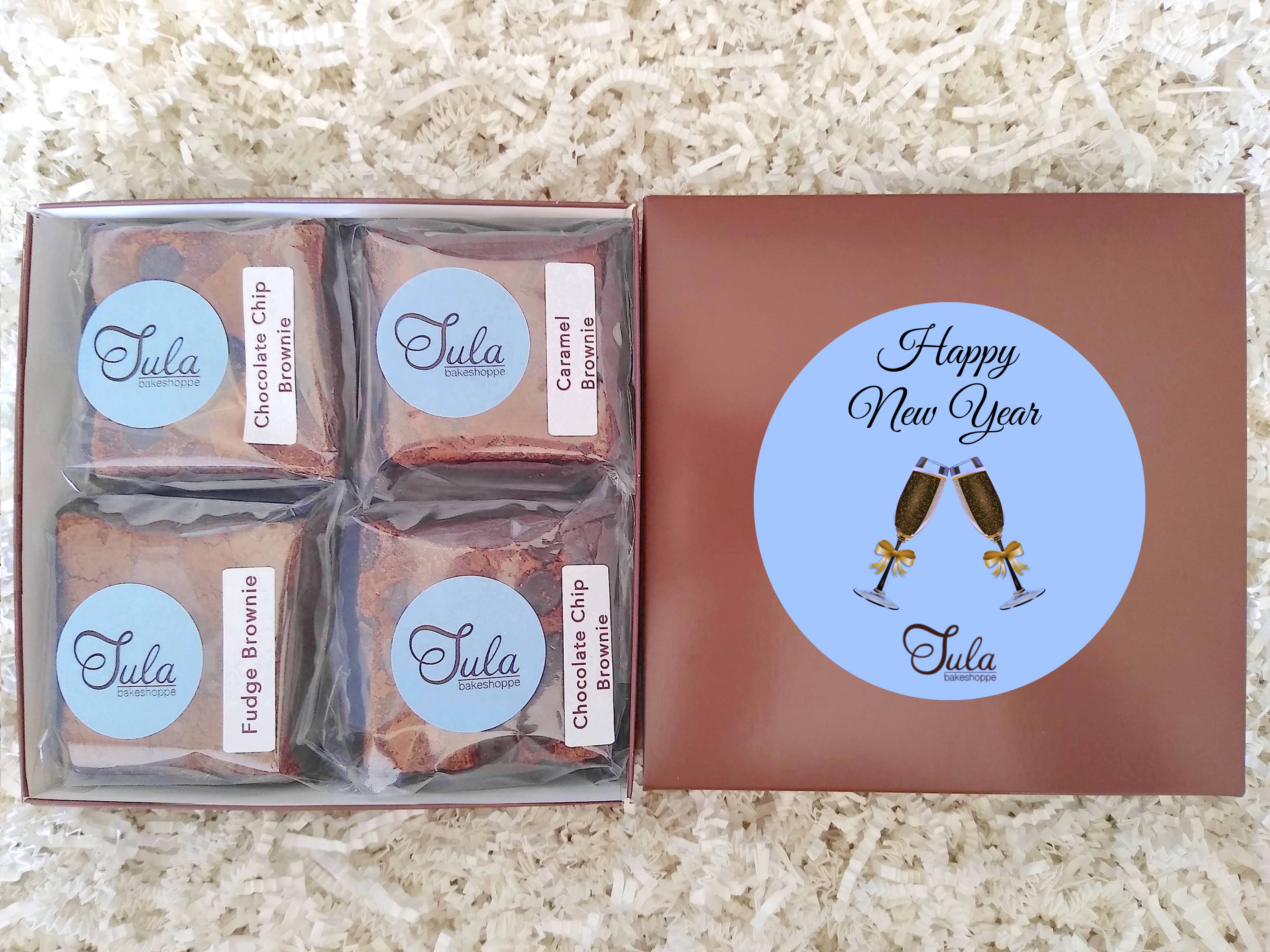 New Year Party Peanut-Free Assorted Brownie Favors Gift Box, Individually Wrapped