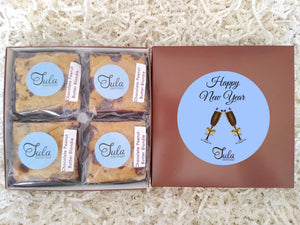 Happy New Year Chocolate Peanut Butter Blondie Gourmet Pastries Favor Gift Box