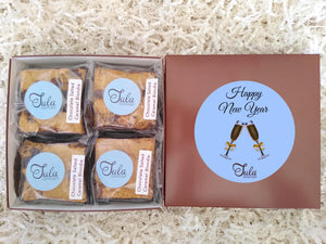 New Year Chocolate Salted Caramel Blondie Favors Gourmet Bar Cookies Gift Box