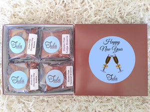 Gluten Free New Year Party Peanut-Free Assorted Brownie Favors Gift Box, Individually Wrapped