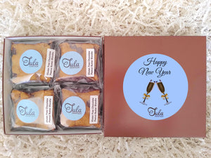 Gluten-Free Happy New Year Chocolate Peanut Butter Blondie Gourmet Pastries Favor Gift Box