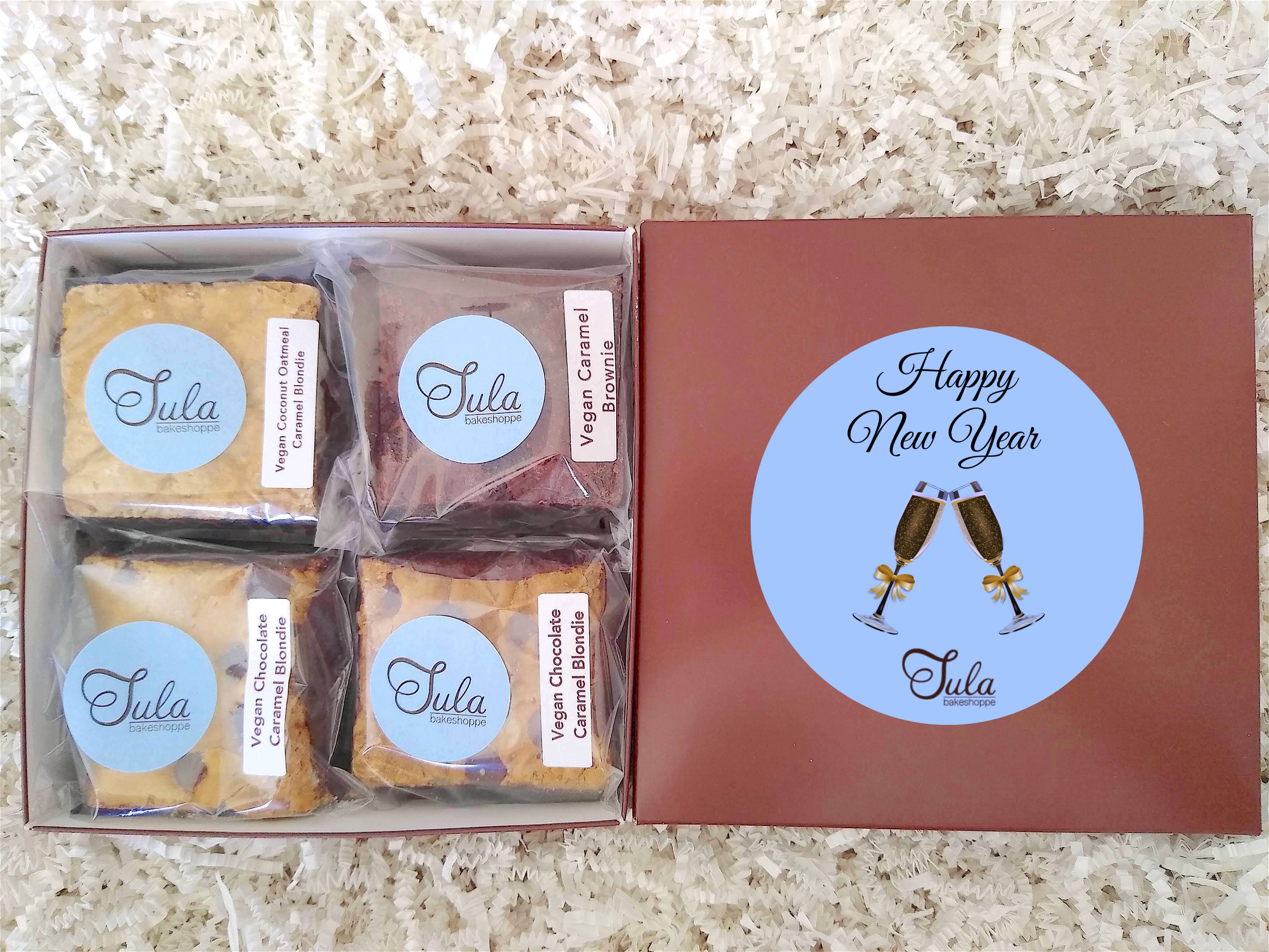 Vegan Happy New Year Caramel Lover Bars Gourmet Favor Snack Food Gifts
