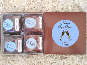 Vegan New Year Dairy-Free Chocolate Lover Bars Gourmet Favors Pastry Gift Box