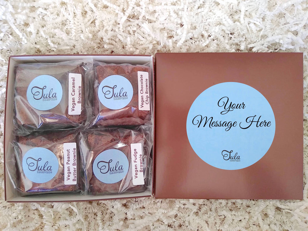 Vegan Personalized Brownie Lovers Gourmet Gift Box (Contains Peanuts)