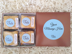 Vegan Personalized Coconut Oatmeal Caramel Blondie Pastry Gourmet Gift Box