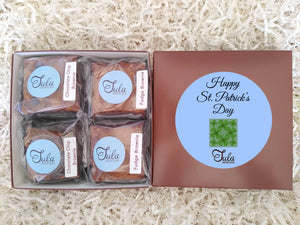 St Patricks Day Green Clover Chocolate Lover Bars Gourmet Favors Pastry Care Package Gift Basket