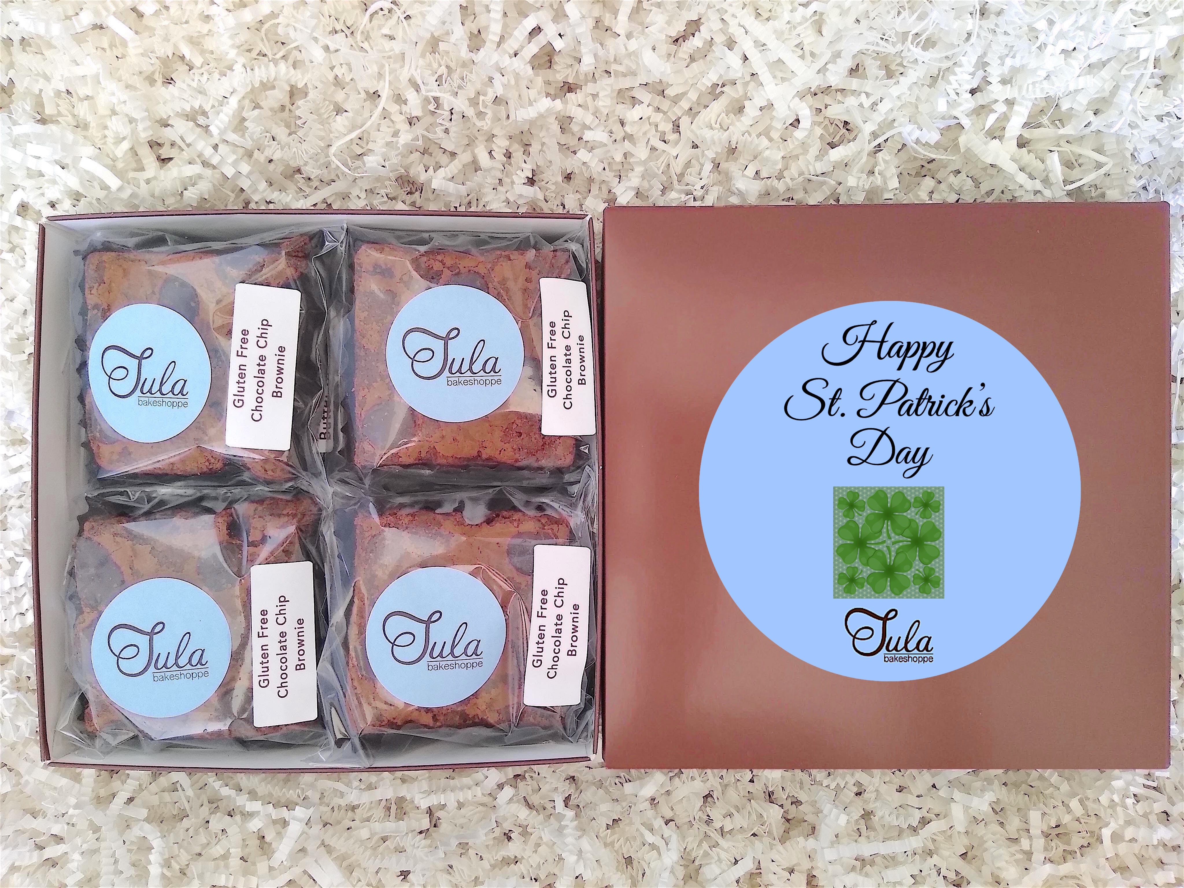 Gluten Free Saint Patricks Day Ireland Shamrock Wheat-Free Chocolate Chip Brownies Gourmet Food Gift Basket