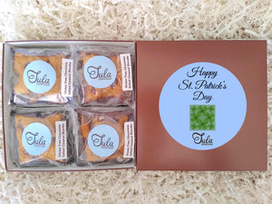 Gluten Free St Patrick Shamrock Flourless Chocolate Salted Caramel Blondie Favors Gourmet Bakery Cookies Food Gift Box