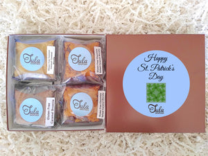 Gluten Free St Patrick Four Leaf Clover Caramel Lover Bars Gourmet Favors Snack Food Gifts