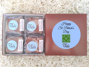Gluten Free Saint Patricks Day Green Clover Fudge Brownie Gourmet Gift Box