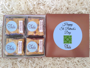 Vegan St Patrick Green Shamrock Plant Based Chocolate Caramel Blondie Favors Gourmet Bakery Cookies Food Gift Box