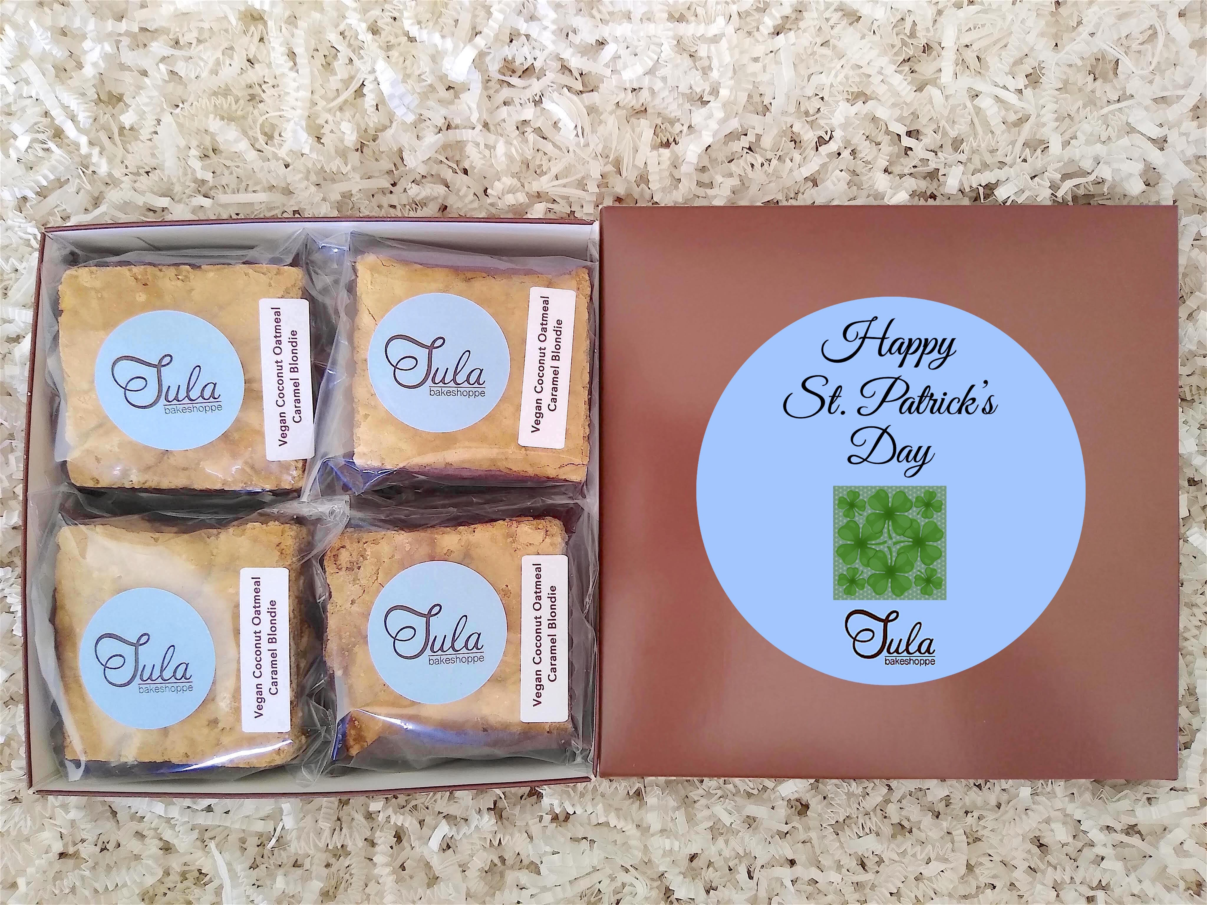 Vegan Saint Patricks Day Irish Clover Coconut Oatmeal Caramel Blondie Gourmet Bar Cookies Gift Box