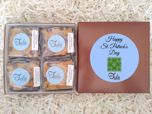 Vegan St Patrick Irish Clover Chocolate Peanut Butter Blondie Gourmet Cookie Bar Favor Gifts, Individually Wrapped