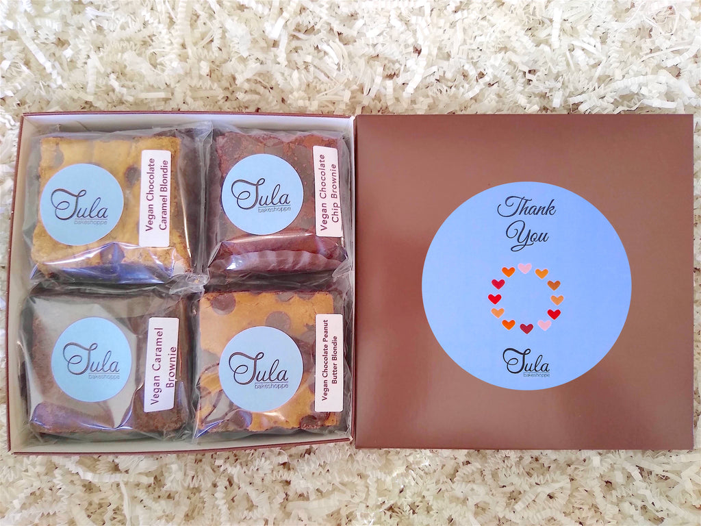 Vegan Thank You Gourmet Cookie Bar Variety Sampler Baked Items Gift Box, Business / Corporate Gifts
