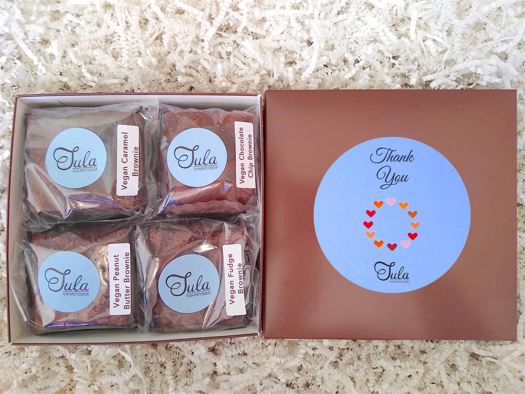 Vegan Thank You Brownie Lovers Gourmet Bakery Package Snack Gift Box (Contains Peanuts)