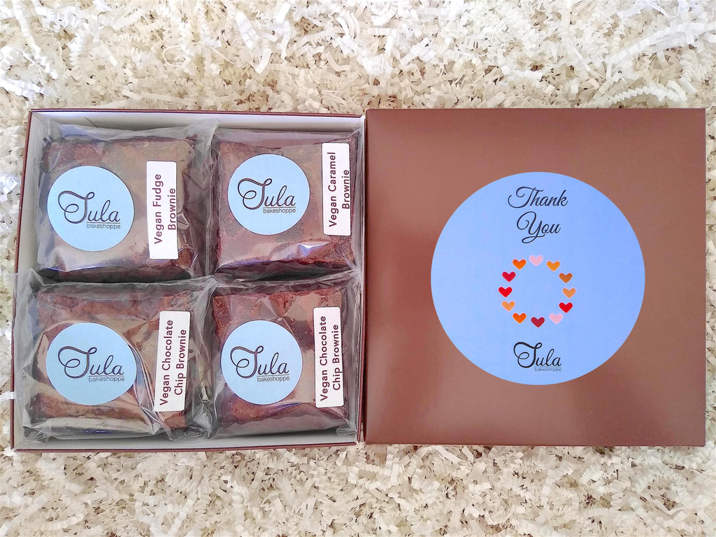 Vegan Thank You Dairy-Free Brownies Gourmet Appreciation Care Package, Individually Wrapped