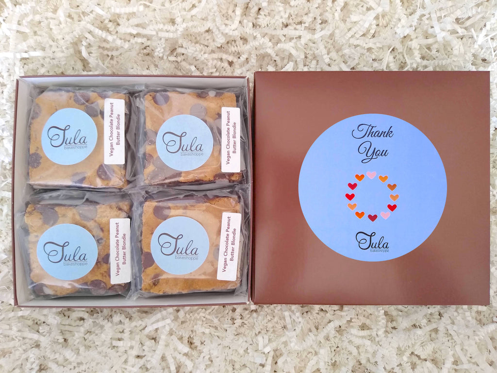 Vegan Thank You Chocolate Peanut Butter Blondie Gourmet Pastries Gift Box