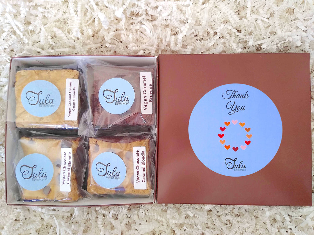 Vegan Thank You Caramel Lover Bars Gourmet Favor Food Gift Box, Corporate / Business Gift