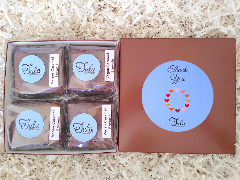 Vegan Thank You Dairy Free Caramel Brownie Gourmet Appreciation Food Gift Baskets