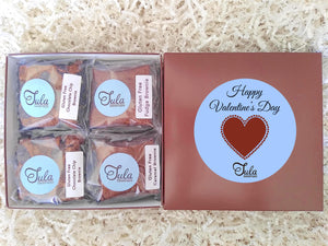 Gluten Free Valentine Romantic Peanut-Free Assorted Brownie Favors Gift Box, Individually Wrapped