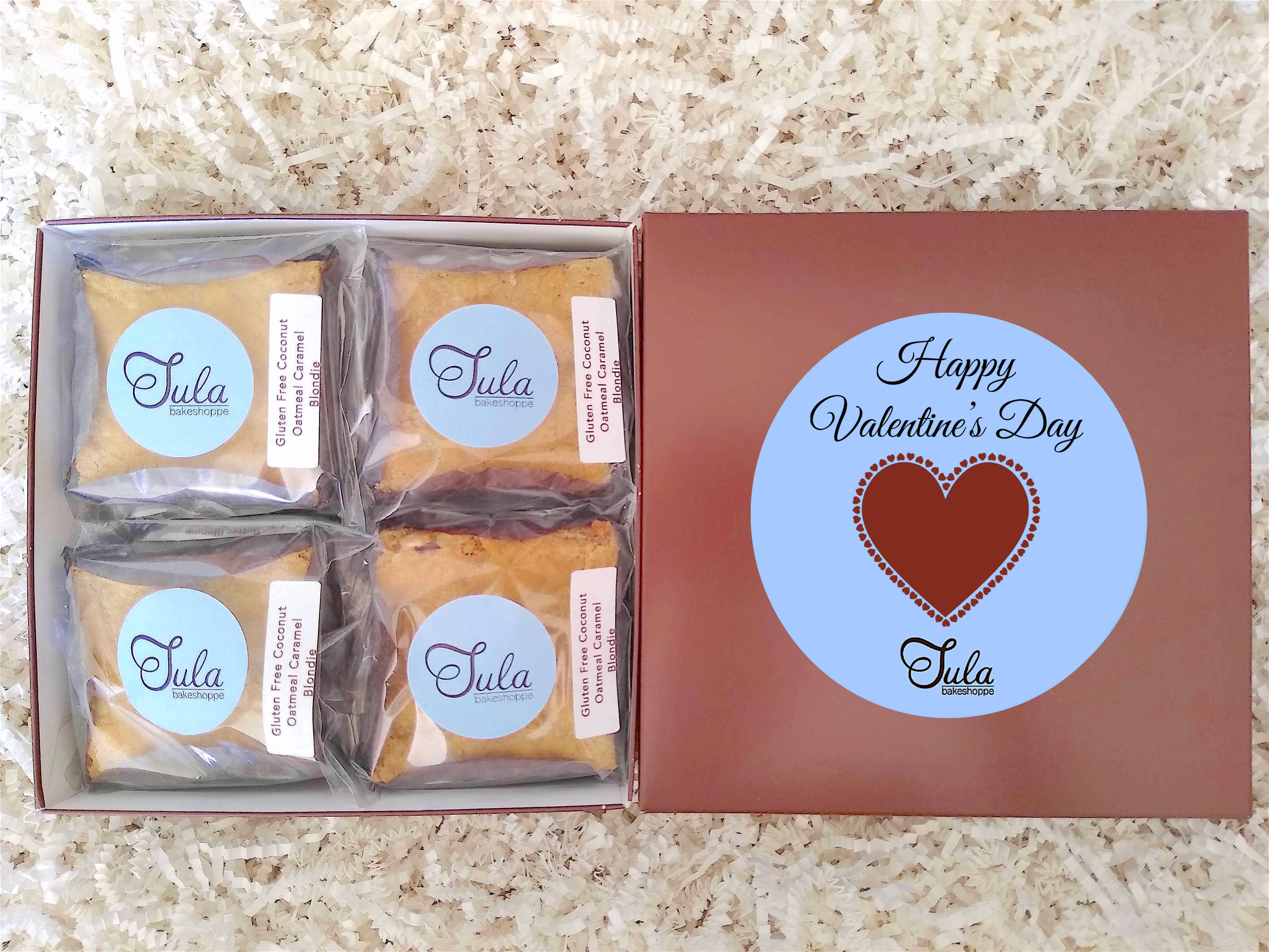 Gluten Free Valentines / Galentine's Day Coconut Oatmeal Caramel Blondie Gourmet Sweets Treat Gift Box