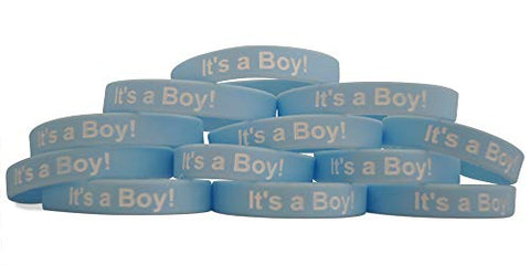 Novel Merk Blue It's A Boy Twelve-Pack Baby Shower & Gender Reveal Party Favor & Rubber Band Wristband Bracelet (12 Pieces)