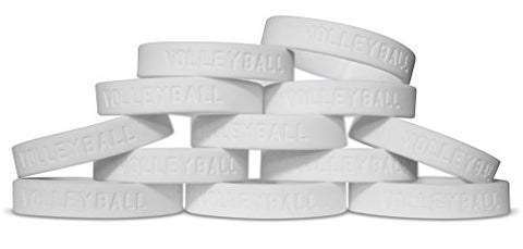 Novel Merk 12-Piece Volleyball White Party Favor & School Carnival Prize Sports Silicone Wristband Bracelet