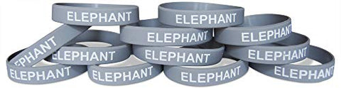 Novel Merk Elephant Gray Safari Animal Party Favor & School Carnival Prize Silicone Rubber Band Wristband Bracelet (12 pieces)