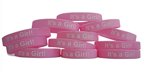 Novel Merk Pink It's A Girl Twelve-Pack Baby Shower & Gender Reveal Party Favor & Rubber Band Wristband Bracelet (12 Pieces)