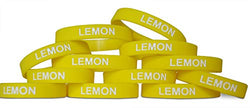 Novel Merk Lemon Yellow Party Favor & School Carnival Prize Silicone Rubber Band Wristband Bracelet (12 pieces)