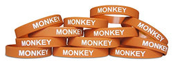 Novel Merk Monkey Brown Safari Animal Party Favor & School Carnival Prize Silicone Rubber Band Wristband Bracelet (12 pieces)