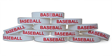 Novel Merk 12-Piece Red Text White Baseball  Party Favor & School Carnival Prize Sports Silicone Wristband Bracelet