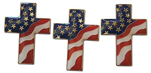 Novel Merk 3-Piece Cross Patriotic American Flag Stars & Stripes Lapel Pin or Hat Pin & Tie Tack Set with Clutch Back