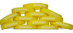 Novel Merk Banana Yellow Party Favor & School Carnival Prize Silicone Rubber Band Wristband Bracelet (12 pieces)