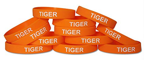 Novel Merk Tiger Orange Safari Animal Party Favor & School Carnival Prize Silicone Rubber Band Wristband Bracelet (12 pieces)