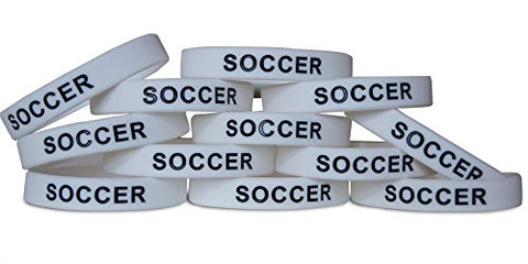 Novel Merk 12-Piece Black Text White Soccer Party Favor & School Carnival Prize Sports Silicone Wristband Bracelet