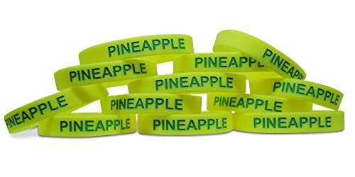Novel Merk Pineapple Yellow Fruit 12-Piece Party Favor & Carnival Prize Rubber Band Wristband Bracelet Accessory