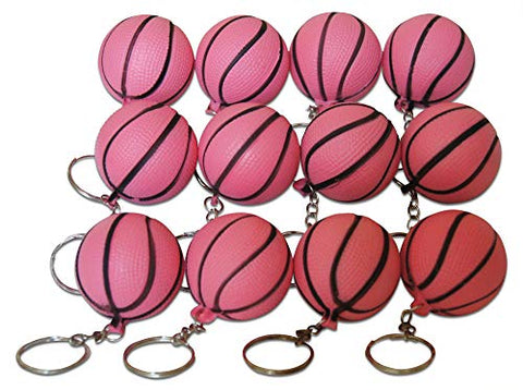 Novel Merk Pink Basketball 12-Piece Keychains for Party Favors & School Carnival Prizes