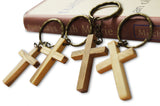 4-Piece Olive Wood Cross Keychains Made in Bethlehem by Novel Merk