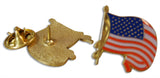 Patriotic 3-Piece American Flag & Ribbon Hat, Lapel Pin & Tie Tack with Clutch Back by Novel Merk