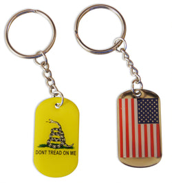 Novel Merk 2-Piece Patriotic Keychain Set Gadsden & American Flag Dog Tag