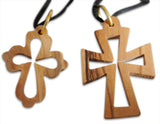 Novel Merk 2-Piece Small Olive Wood Necklaces Diamond Cross & 14 Stations Cross Made in Bethlehem