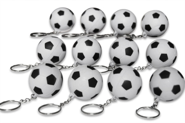 Novel Merk 12 Pack Soccer Ball Keychains for Kids Party Favors & School Carnival Prizes